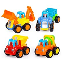 D-Mcark Sets of 4 Early Educational Toddler Baby Toy Push and Go Friction Powered Car Toys Tractor Bulldozer Mixer Truck and Dumper for Children Kids Boys and Girls 1 Year Old to 3 Year Old