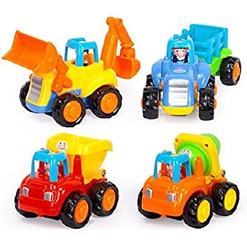 Fu T Toddler Baby Toy Push and Go Friction Powered Car Toys Sets of 4 Tractor Bulldozer Mixer Truck and Dumper for Children Kids Boys and Girls Puzzle growth 1 Year Old to 3 Year Old