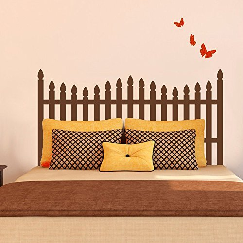 Wall Decal Decor Picket Fence style Headboard Wall Decal with Butterfly for Twin Full Queen King Bed Vinyl Wall Decal Sticker(Black, Twin)