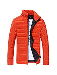kingfansion Men Lightweight Quilted Puffer Jacket Winter Warm Padded Thicken Coat