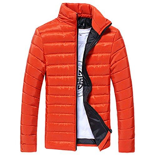 Orange Jacket Collar Warm Fashion Zip UJUNAOR Stand Men Outwear Slim Coat Winter nPSxxAp7v