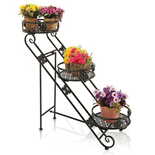 Cheap Freestanding Black Scrollwork Metal 3 Round Tier Plant Container Stand / Flower Planter Pot Rack