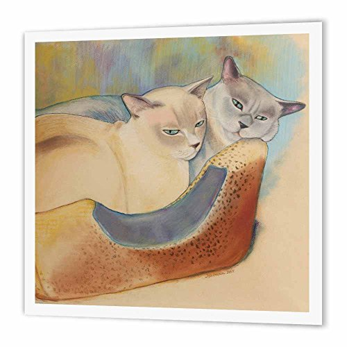 3dRose ht_23299_1 Cats Two Cats Tonkinese Cats Cuddling Pastel Painting Pet Portrait Cats Cat Bed Iron on Heat Transfer, 8 by 8
