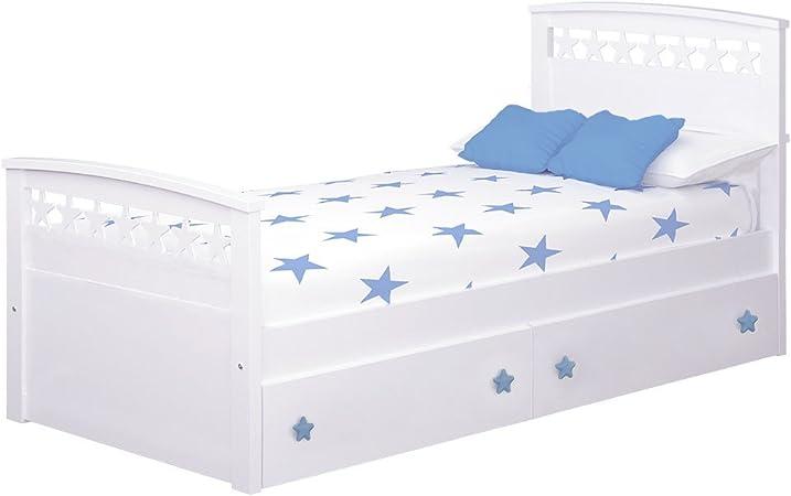 Cama Infantil Estrellas con cajones (Colchón 105 x 190, Azul ...