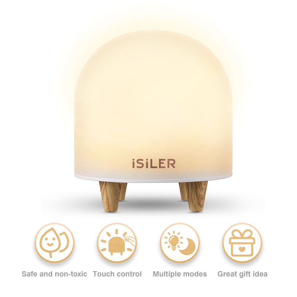 LED Night Light for Kids, iSiLER Portable Silicone Cute Nursery Night Lamp, Romantic Dim Mood Lamp, Touch Control Bedside Lamp, Baby Night light BPA-Free, 48 Hours Runtime