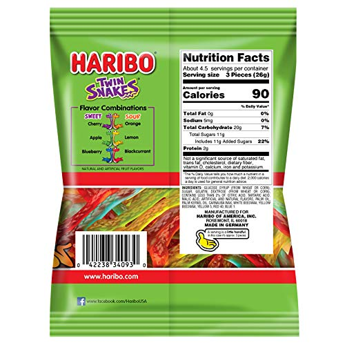 Haribo Gummi Candy, Twin Snakes, 4 oz. Bag (Pack of 12)