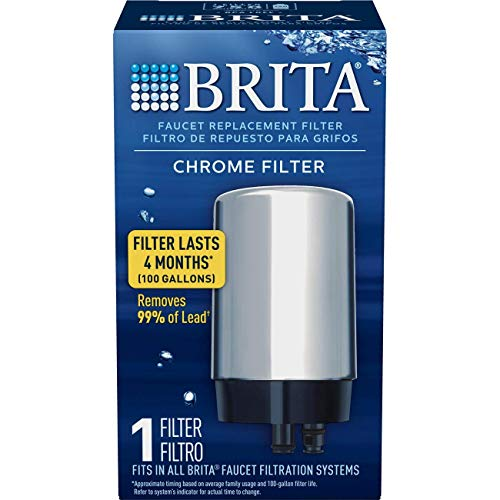 (Brita Tap Water Filter, Water Filtration System Replacement Filters For Faucets, Reduces Lead, BPA Free - Chrome, 1 Count)
