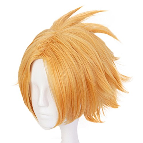 Anogol Hair Cap+Anime Cosplay Wig Short Halloween Costume Hero Wigs Synthetic Hair Fancy -