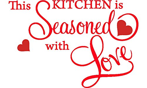 Cheap  Red 15'' X 22'' This Kitchen is Seasoned with Love Wall Quote..