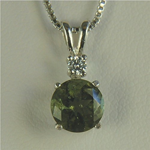 Moldavite Faceted Necklace Pendant 7mm 1.15ct Sterling Silver by Gusgusgems