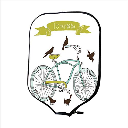 (iPrint Neoprene Pickleball Paddle Racket Cover Case,Bicycle,I Love My Bike Concept with Birds on The Seat Cruisers Basic Vehicle Simplistic Art,Green Blue,Fit for Most Rackets - Protect Your Paddle)