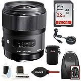 Sigma 35mm F1.4 ART DG HSM Lens for NIKON DSLR Cameras w/ Sigma USB Dock & 32GB Travel Bundle