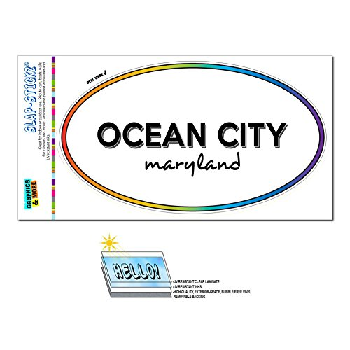 Rainbow Euro Oval Window Laminated Sticker Maryland MD City State For - Par - Ocean (Par City)