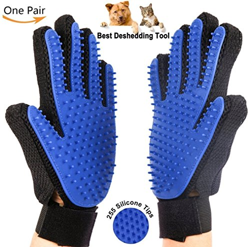 Pet Grooming Glove Hair Remover Brush Five Finger Design Combing and Massage gloves For Dogs, Horses, Cats, and Other…