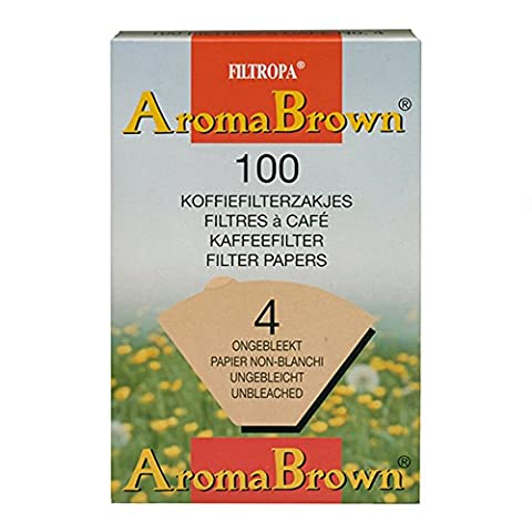 Filtropa Unbleached Disposable Coffee Filter Cone, Number 4-Size Filter, Brews 8 to 12-Cups, Box of 100
