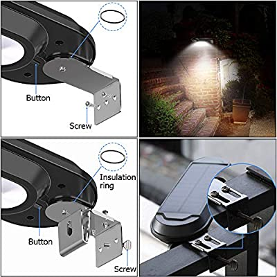 Solar Gutter Lights Outdoor, Super Bright 18 LED Deck Light Waterproof Wall Lamps Dusk to Dawn for Garden Fence Garage Pathway