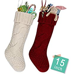 "LimBrige 2 Pack 15"" Mid-Size Knit Knitted Classic Christmas Stockings, Rustic Personalized Stocking Decorations for Family Holiday Season Décor, White/Red"