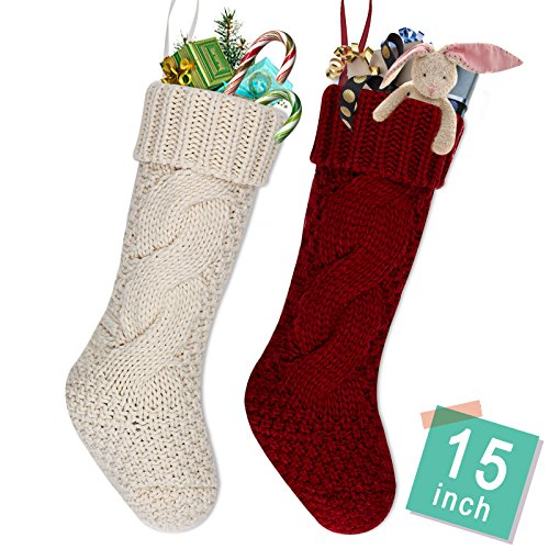 """LimBrige 2 Pack 15"""" Mid-Size Knit Knitted Classic Christmas Stockings, Rustic Personalized Stocking Decorations for Family Holiday Season Décor, White/Red"""