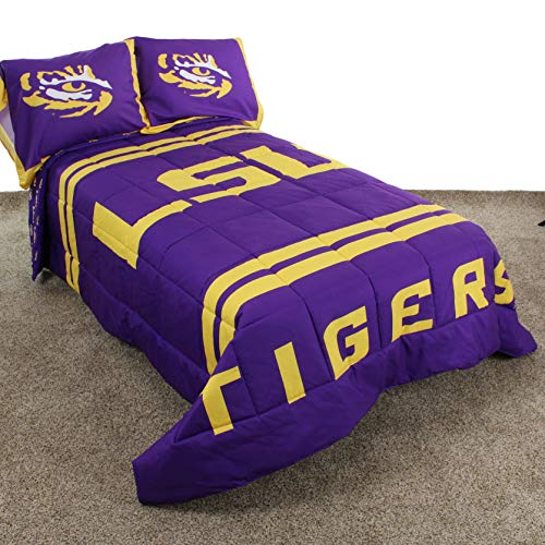 MISC 3 Piece Purple Yellow NCAA LSU Tigers Comforter Full Set Sports Basketball Reversible Bedding Striped Design Team Logo Collegiate Athletic Team Fan Lightweight Plush Comfy Super Soft Polyester