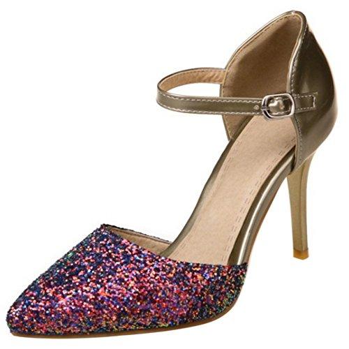 Toe Gold Women Closed Ankle Size Stiletto COOLCEPT Strap Shoes Sandals Fashion 0wSxOqvd