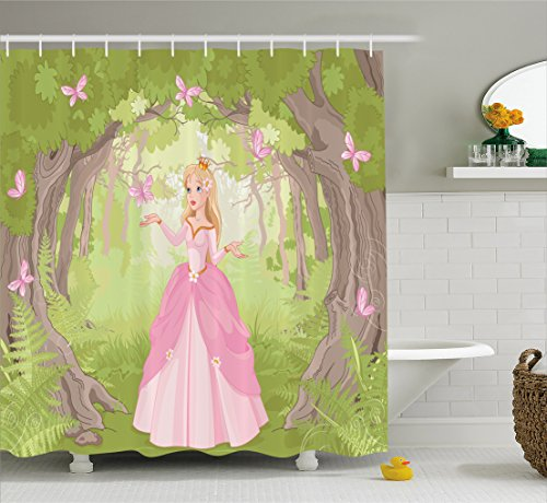 Princess Shower Curtain by Lunarable, Charming Girl in Enchanted Forest Surrounded Butterflies Magical Land, Fabric Bathroom Decor Set with Hooks, 70 Inches, Lime Green Pale (Charming Butterfly)