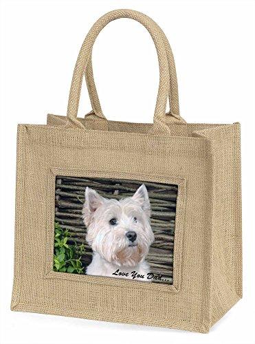 Advanta Westie Hund Love You Dad Große Einkaufstasche/Weihnachten Geschenk, Jute, beige/natur, 42x 34,5x 2cm