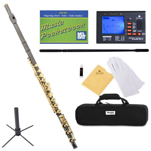 - Mendini MFE-380BNG Intermediate Open/Closed-Hole Black Nickel Plated C Flute w/ B Foot Joint + 1 Yr Warranty, Case, Chromatic Tuner w/ Metronome, Stand, Pocketbook, Cleaning Rod & Cloth, Joint Grease, & a Pair of Gloves