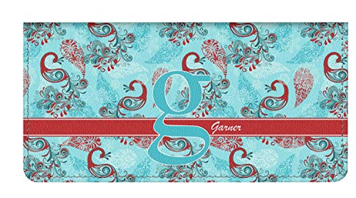 Cover Paisley Checkbook - Peacock Genuine Leather Checkbook Cover (Personalized)