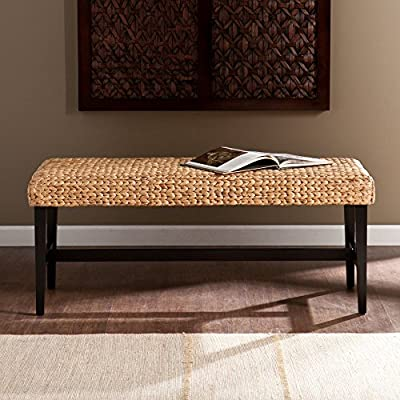 Southern Enterprises Savannah Bench - Dimensions: 44.5L x 18.25D x 18.75H inches Solid wood frame painted a dramatic black Natural arrow-woven water hyacinth seat - entryway-furniture-decor, entryway-laundry-room, benches - 51GvrdXeh7L. SS400  -