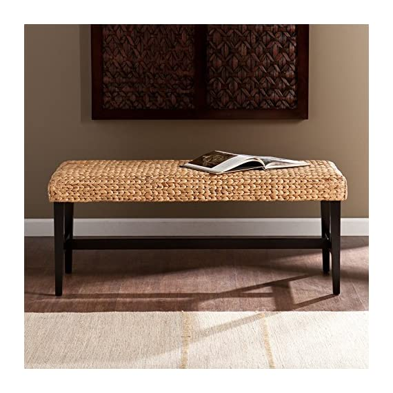 Southern Enterprises Savannah Bench - Dimensions: 44.5L x 18.25D x 18.75H inches Solid wood frame painted a dramatic black Natural arrow-woven water hyacinth seat - entryway-furniture-decor, entryway-laundry-room, benches - 51GvrdXeh7L. SS570  -