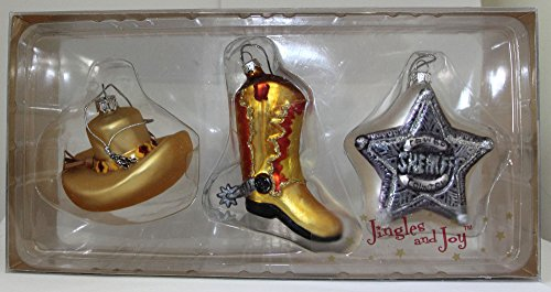 jingles-and-joy-blown-glass-western-cowboy-christmas-ornaments-cowboy-hat-cowboy-boot-sheriffs-badge