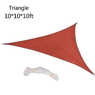 Toyfun 10 x 10 x 10ft Triangle Sun Shade Sail Canopy Waterproof Sunshade Sail for Outdoor Facility and Activities Awning Shelter for Patio, Garden, Yard, Pergola : Garden & Outdoor