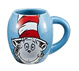 Vandor 51628 Dr. SeussThe Cat in the Hat 18 oz Oval Ceramic Mug, Blue, Red, and White