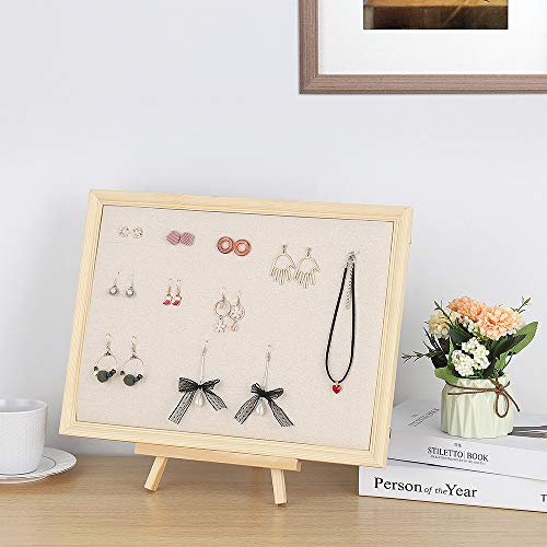 (Terby Jewelry Organizer, Hanging Jewelry Box Picture Frame Adjustable Bracket Holder for Earrings Necklaces Rings Bracelets Display Organizer with Pearl Pins)