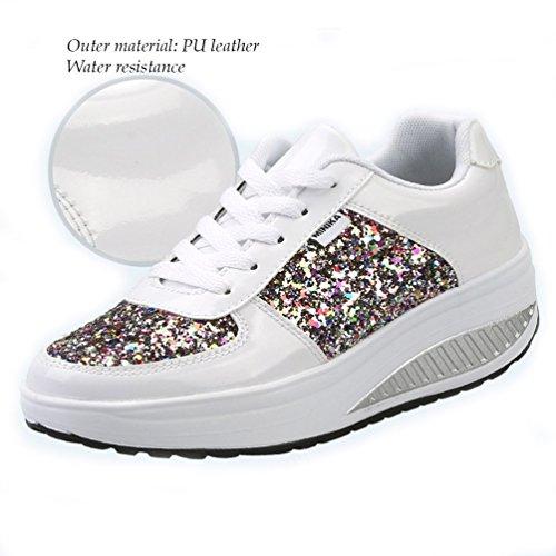 Mujer Zapatos Negro Blanco 1 Zapatillas Deportes plata Running zhenghewyh Para wTx0vqIEn