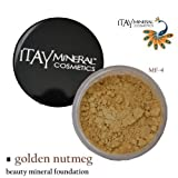 Itay Beauty 100% Natural Mineral Foundation Color :Mf-4 Golden Nutmeg+ Longlasting Black Eye Liner by ITAY BEAUTY MINERAL COSMETICS