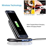 Seetop Fast Wireless Charger Note 8 iPhone X Built-in Cooling Fan 2 Coils Qi Wireless Charging Pad Flip Phone Holder Dock Car Charge for iPhone X 8 8 Plus Samsung Note 8 S8 S8 Plus S7 S7edge (Black)