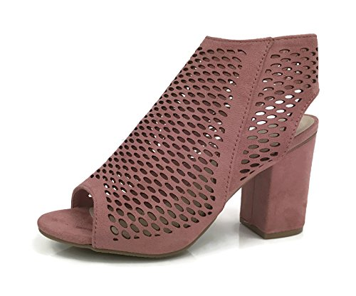 Bella Marie Öppen Tå Mule Sandal Med Perforerade Cut Outs Fotled Wrap Bootie Staplade Chunky Häl Mauve