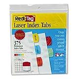 Redi-Tag Laser Printable Index Tabs, 1 1/8 x 1 1/4, 5 Colors, 375/Pack