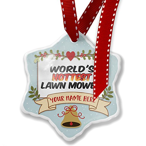 (NEONBLOND Add Your Own Custom Name, Worlds Hottest Lawn Mower Christmas Ornament)