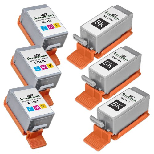 Bci 6 Six Pack - Speedy Inks - Compatible 6PK Canon 3 BCI-15 Black 3 BCI-16 color Ink Cartridges for use in Canon Portable Printers PIXMA iP90 PIXMA iP90V SELPHY DS700 SELPHY DS810