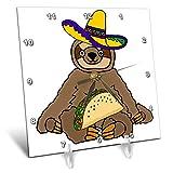 3dRose All Smiles Art Animals - Funny Sloth eating Taco Cartoon - 6x6 Desk Clock (dc_288115_1)