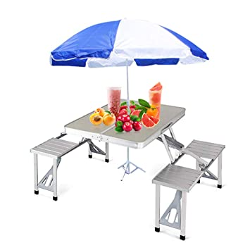 Astounding Bartonisen Folding Picnic Table Aluminum Travel Table Coffee Tables 4 Folding Seats Suitcase Table Umbrella Download Free Architecture Designs Scobabritishbridgeorg