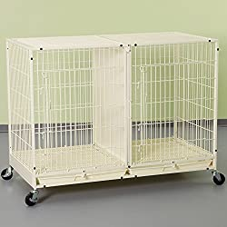 ProSelect Steel Modular Pet Cage with Plastic Tray, X-Tall, Ivory