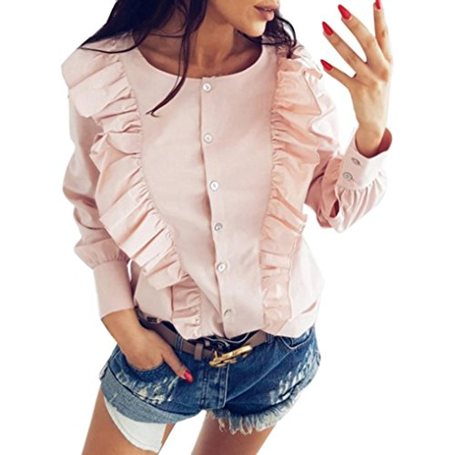 Pervobs Blouses, Big Promotion! Fashion Women Casual Long Sleeve Loose Ruffles O-Neck Tops T-Shirt Top Blouse (S, Pink)