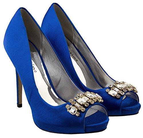 Mujer Sabatine Satén diamante racimo nupcial boda zapatos Azul