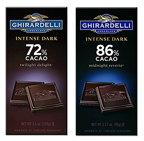 Ghirardelli Chocolate Intense Dark Bar Bundle | One Each of Twilight Delight 72% Cacao, 3.5-Ounce Bar and Midnight Reverie 86% Cacao, 3.17 - Cocoa Extra Dark Chocolate