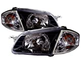 CrazyTheGod 323 BJ Sedan/Wagon 1998-2000 CRYSTAL Headligh Headlamp BLACK for MAZDA LHD