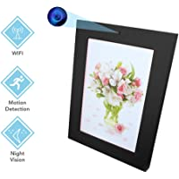 Photo Frame Hidden Camera HD Camcorder with Motion Detection & Mobile Storage Support 32GB TF Card for Home Office Security (Black)