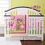 Baby Girl Sweet Safari 6pcs Crib Cot Bedding Set